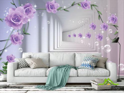 3Д обои Фотообои 3D бутоны фиолетовых роз