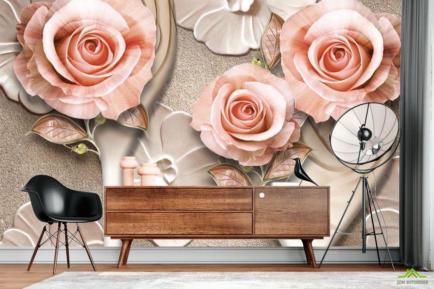 Фотообои Розы стереоскопические