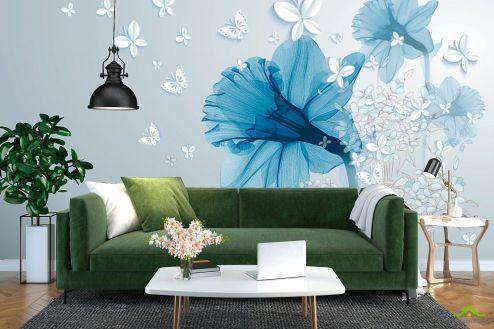 3Д  Фотообои Синий абстрактный цветок