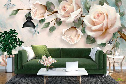 3Д  Фотообои Нежные розы