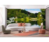 Фотообои домик и мостик над озером