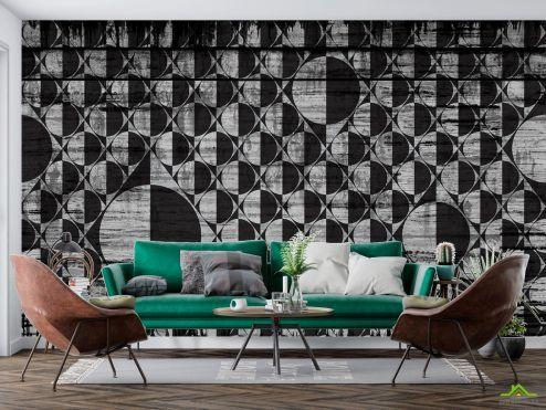 Геометрия Фотообои Серо-черные круги
