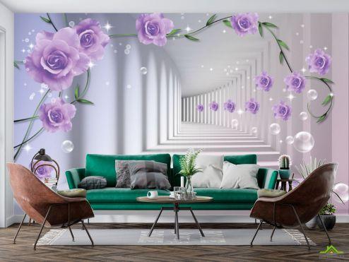 3Д  Фотообои 3D бутоны фиолетовых роз