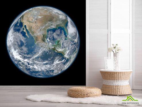 обои Космос Фотообои планета Земля на черном фоне
