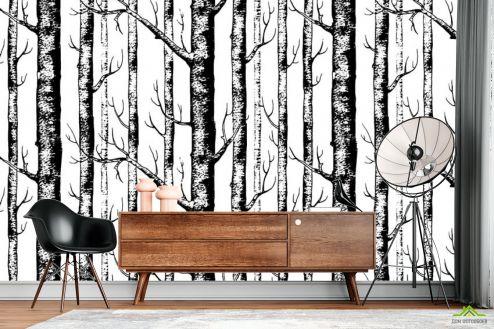 в скандинавском стиле Фотообои Паттерн из деревьев