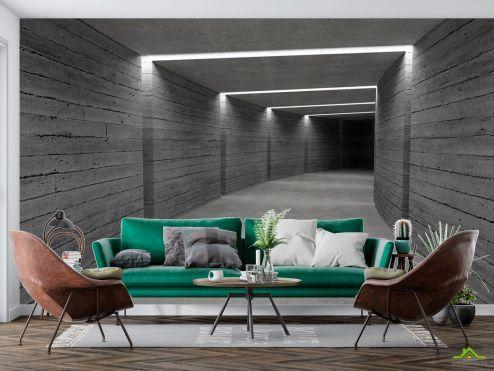 в стиле хай тек Фотообои Серый деревянный коридор купить