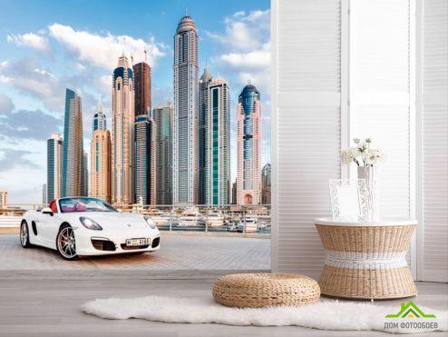 обои Транспорт Фотообои Porsche на фоне города