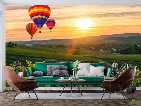 Фотообои Транспорт по выгодной цене Фотообои Воздушные шары на закате
