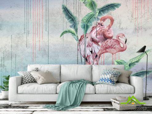 с Фламинго Фотообои Дизайнерские фламинго купить