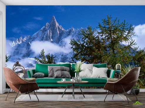 Горы Фотообои Небо, гора, ёлки