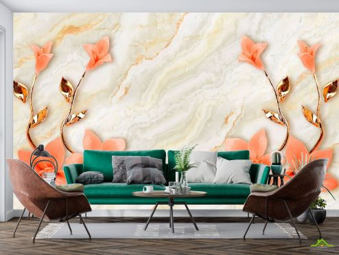 3Д  Фотообои Оранжевые цветы с ветками