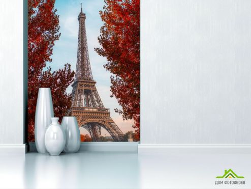 обои Париж Фотообои красные деревья в Париже