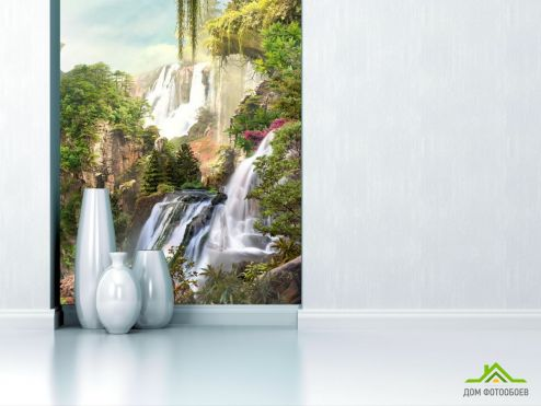 обои Природа Фотообои два водопада на скале
