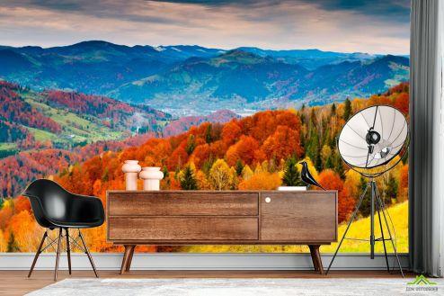 Оранжевые  Фотообои Яркая осень, горы