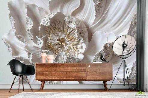 3Д барельеф  Фотообои Макро керамический цветок