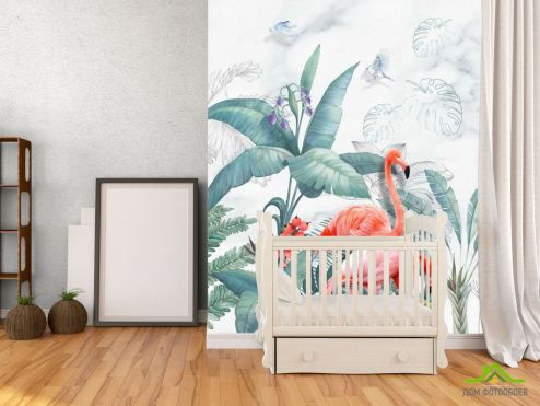 с Фламинго Фотообои Фламинго и листья