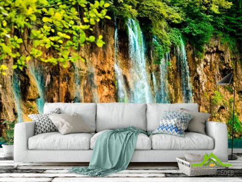 обои Водопад Фотообои Течет вода, скалы