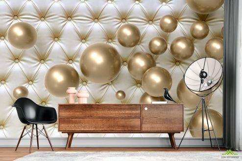 стереоскопические Фотообои  Золотые шарики