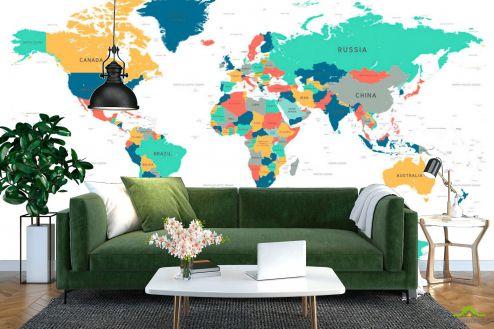 Синие  Фотообои Карта мира вектор