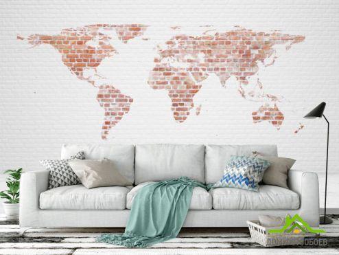 обои Карта Фотообои Карта на кирпичной стене