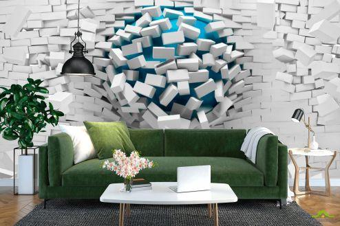 3D объемные Фотообои Шар из стены
