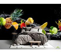 Фотообои фрукты и вода на черном фоне