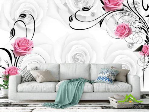 обои цветы 3d Фотообои Розы на атласе