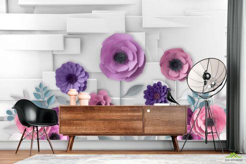 3Д  Фотообои 3Д бумажные цветы