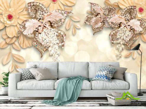 3Д обои Фотообои 3d цветы и брошки
