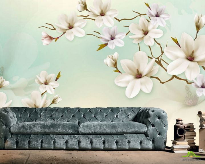 Фотообои Белые магнолии на бирюзовой стене