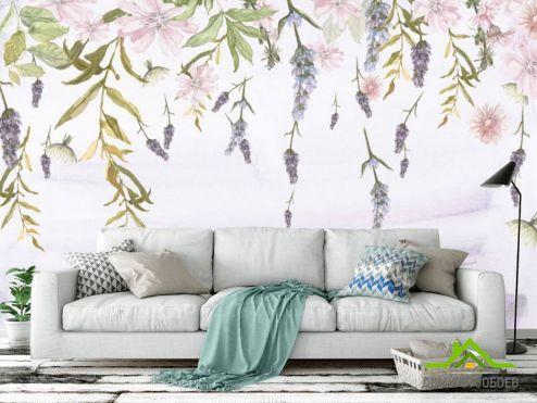 обои Цветы Фотообои Нежные цветы с потолка