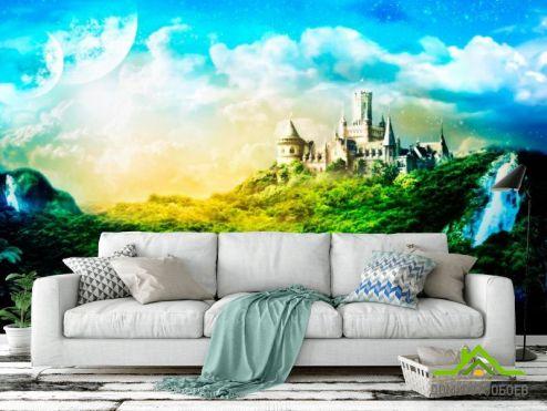 Зеленые обои Фотообои Утопающий в зелени замок