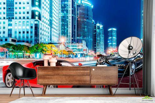 Фотошпалери, колір: «червоний» Фотошпалери Машини на тлі міста