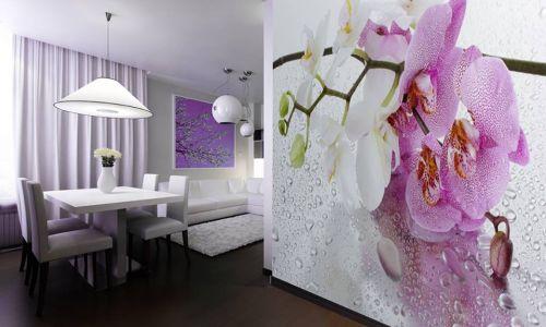 Фотообои в интерьере кухни с фото - Фотообои Орхидеи розовые и белые