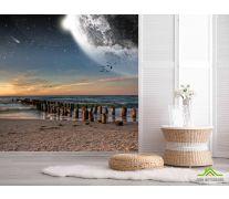Фотообои луна над морем