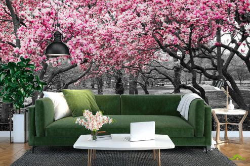 Расширяющие пространство Фотообои Розовые деревья в парке купить