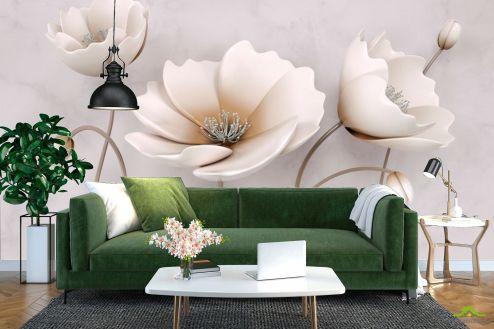 3Д барельеф Фотообои Стереоскопические бежевые цветы
