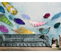 Фотообои Разноцветные воздушные перья