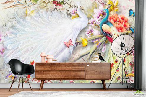 по стилю  Фотообои Два шикарных павлина в японском стиле