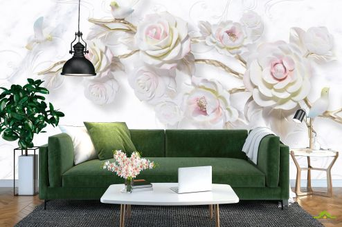 3Д барельеф Фотообои Ветка керамической розы