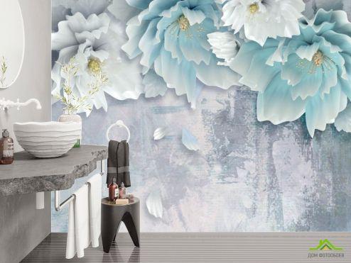 Фотообои в ванную по выгодной цене Фотообои Голубые 3д цветы
