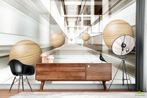 3Д  Фотообои Деревянные сферы 3д