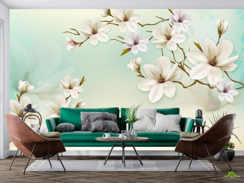 3Д  Фотообои Белые магнолии на бирюзовой стене