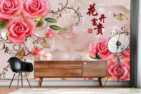 3Д  Фотообои 3д розы и шары