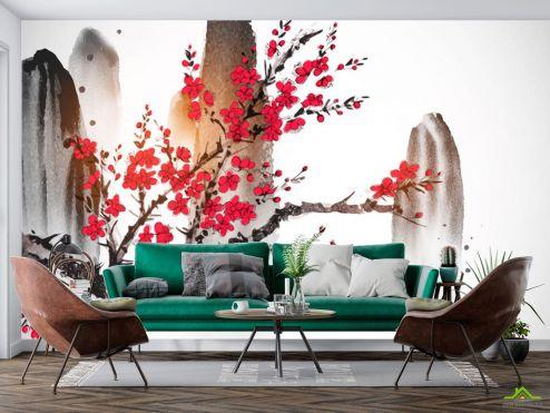 Восточный стиль Фотообои Рисованная сакура в японском стиле