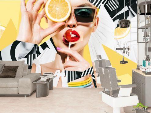 в салон красоты Фотообои Девушка с макияжем и леденцом