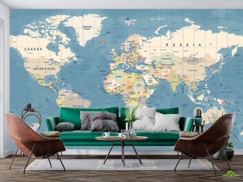 Карта Фотообои Карта мира на голубом