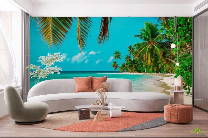Фотообои много пальм над голубым морем