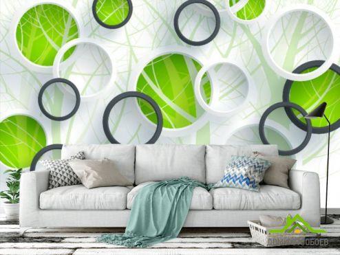 стереоскопические Фотообои Зеленые круги и дерево
