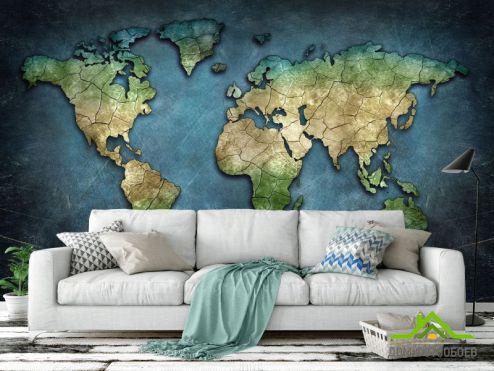 Карта Фотообои Карта мира в синих тонах